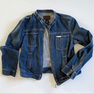 Vintage Calvin Klein Denim Moto Jean Jacket Large